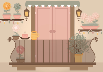 Vector Pink Door Balcony Illustration - vector gratuit #350535