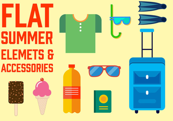 Free Flat Summer Vector Elements - vector gratuit #350645