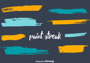 Paint Streak Vector Set - vector gratuit #350655