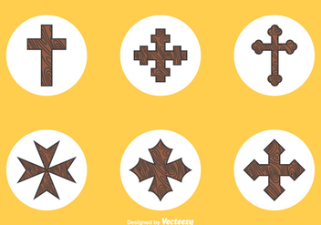 Free Wooden Crosses Vector - vector gratuit #350835