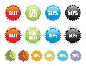 Colorful Star Sale Label Pack - vector #350985 gratis