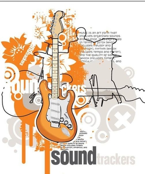 Guitars Sound Track Musical Poster - бесплатный vector #351005
