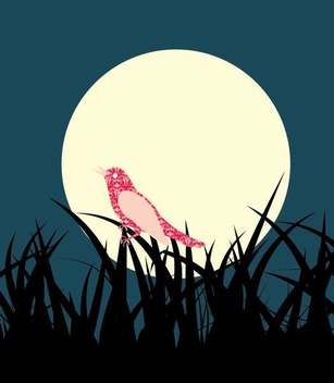 Grass Landscape Bird Midnight Background - vector gratuit #351025