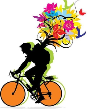 Biker Carrying Pack of Nature - Free vector #351165