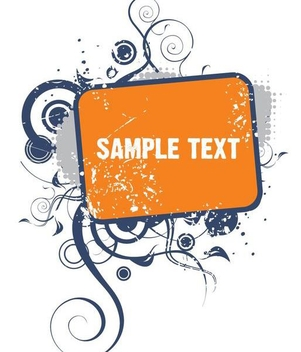 Grunge Swirls Rectangle Banner - Free vector #351285