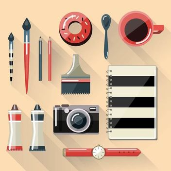 Flat Style Workspace Desk - Free vector #351445