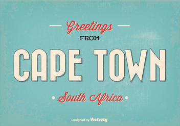 Cape Town Retro Vector Greeting Illustration - бесплатный vector #351705
