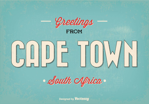 Cape Town Retro Vector Greeting Illustration - Free vector #351705