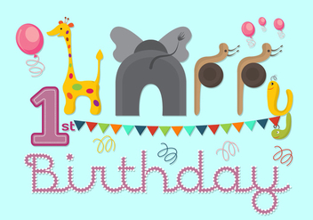 Vector Illustration of 1st Birthday Card - vector gratuit #351755