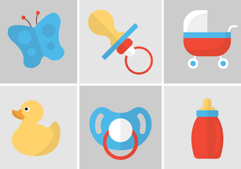 Vector Set of Dummies and Baby Accessories - vector gratuit #351765