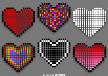 Pixel Heart Vector Set - бесплатный vector #351875