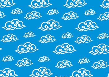 Blue Chinese Clouds Pattern - vector gratuit #351935