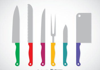 Colorful Cooking Knife Set Vector - Free vector #351975