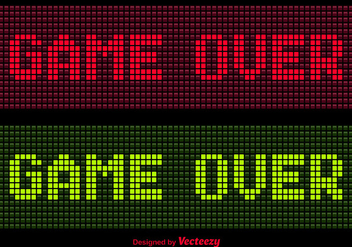 Pixel Game Over Message Vectors - Free vector #352035
