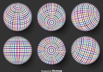 Color Globe Grid Vector Icons - Kostenloses vector #352065