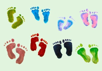 Free Vector Paint Baby Footprints - Kostenloses vector #352115