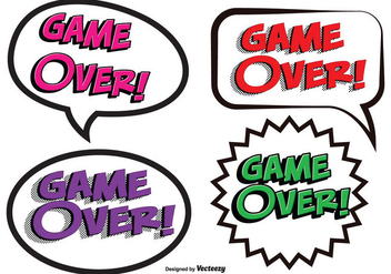Game Over Comic Text Illustrations - бесплатный vector #352265