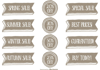 Hand Drawn Style Promotional Vector Label Set - vector #352285 gratis