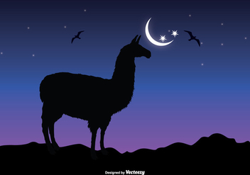 Llama Sillhouette Vector Illustration - Kostenloses vector #352515