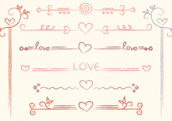 Vector Hand-drawn Love Dividers - vector gratuit #352925