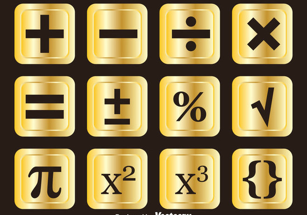 Golden Math Symbols Vector Sets - Free vector #353065