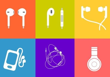 Six Different Ear Buds Vectors - vector gratuit #353235