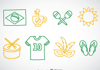 Brasil Outline Icons Vector - vector #353275 gratis