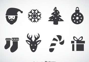 Christmas Gray Icons Vector - Free vector #353295