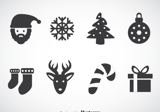Christmas Gray Icons Vector - Kostenloses vector #353295