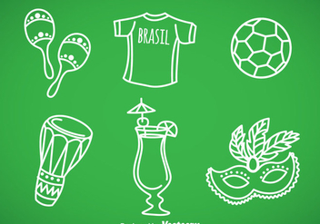 Brasil Hand Draw Icons Vector - Free vector #353315
