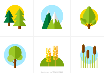 Free Flat Nature Vector Icons - бесплатный vector #353365