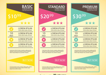 Pricing Table Template - Kostenloses vector #353455