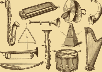 Old Style Drawing Musical Instruments - Free vector #353715