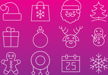 Christmas Line Icon Vectors - Free vector #353775