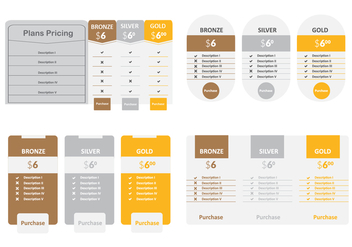 Pricing Option Table Vector - Kostenloses vector #353915