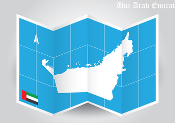 UAE Map Folded Paper Vector - бесплатный vector #354165