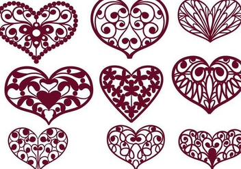 Free Cutout Hearts Vectors - бесплатный vector #354235