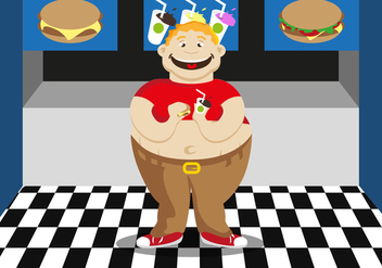 Fat Guy Fast Food Illustration Vector - бесплатный vector #354275