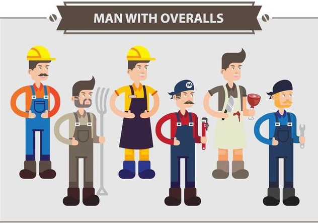 Man With Overalls Vector - Free vector #354315