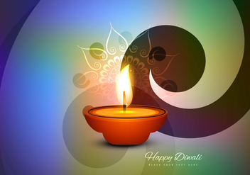 Happy Diwali Card With Glowing Oil Lamp - Kostenloses vector #354455