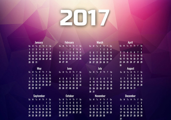 Year 2017 Calendar With Months And Dates - Kostenloses vector #354475