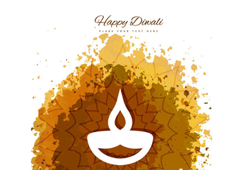 Happy Diwali With Diya On Grunge Background - Free vector #354525