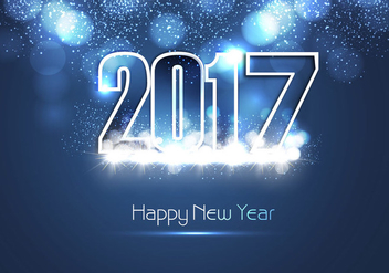 Shiny Blue Happy New Year 2017 Card - Kostenloses vector #354535