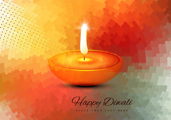 Religious Happy Diwali Vector Card - бесплатный vector #354545