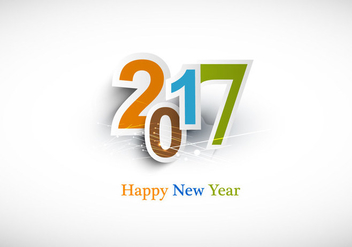 Happy New Year 2017 Text Design - Free vector #354555