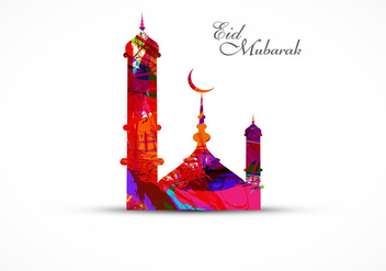 Eid Mubarak Festival With Colorful Mosque - Free vector #354615