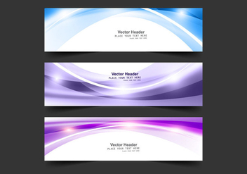 Collection Of Abstract Wave Banner - Kostenloses vector #354625