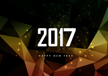 Glowing Polygonal 2016 New Year Card - бесплатный vector #354645