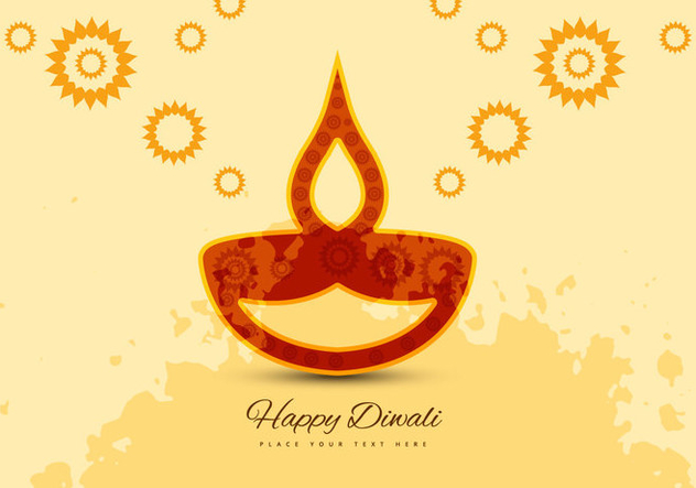Flora Pattern Diya On Diwali Card - vector gratuit #354695