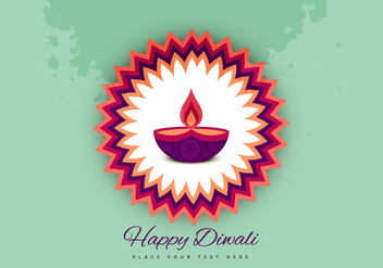 Diwali Oil Lamp On Beautiful Rangoli - Free vector #354745